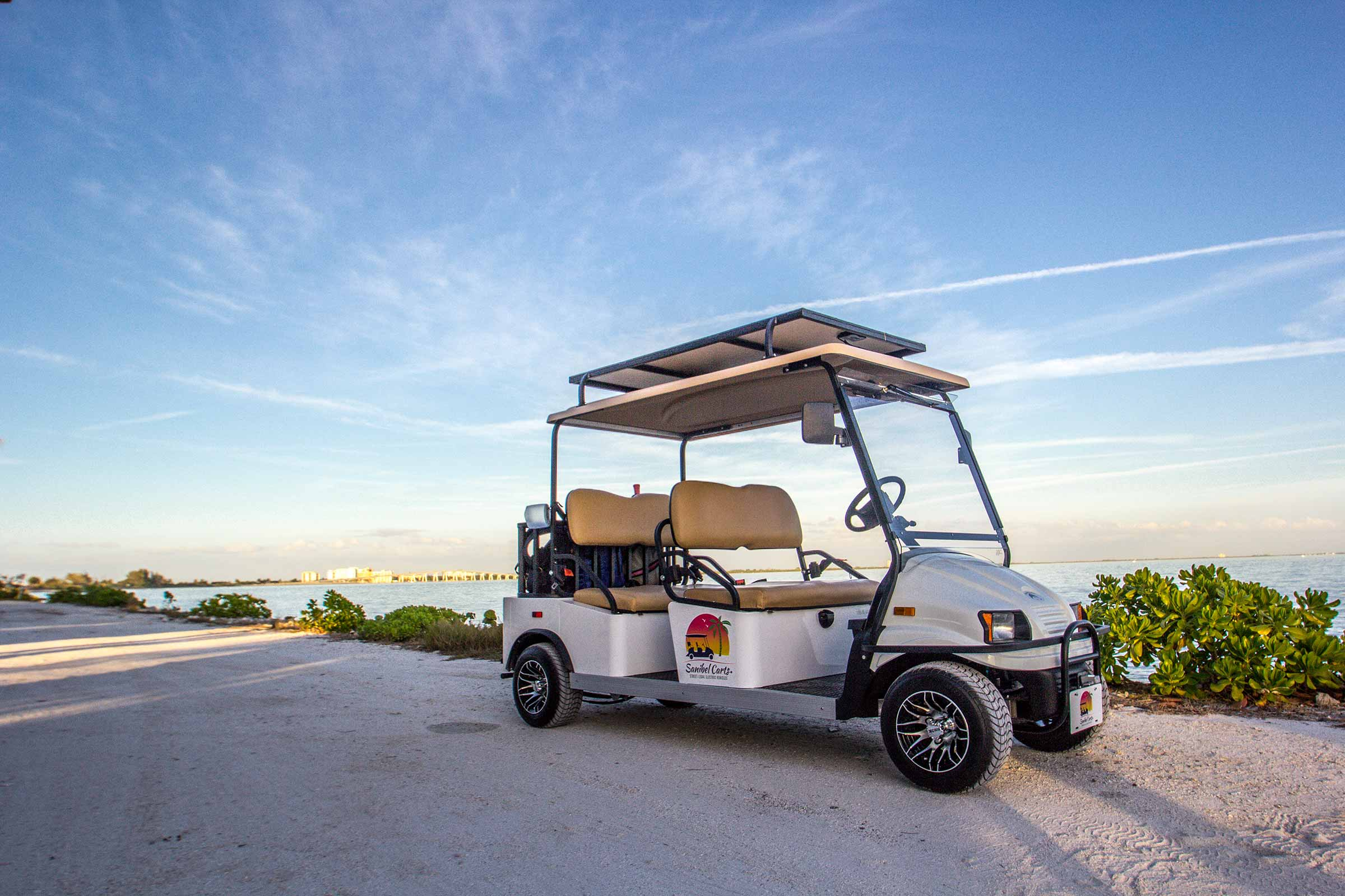 Solar panels on top of a 4-seater Sanibel Cart